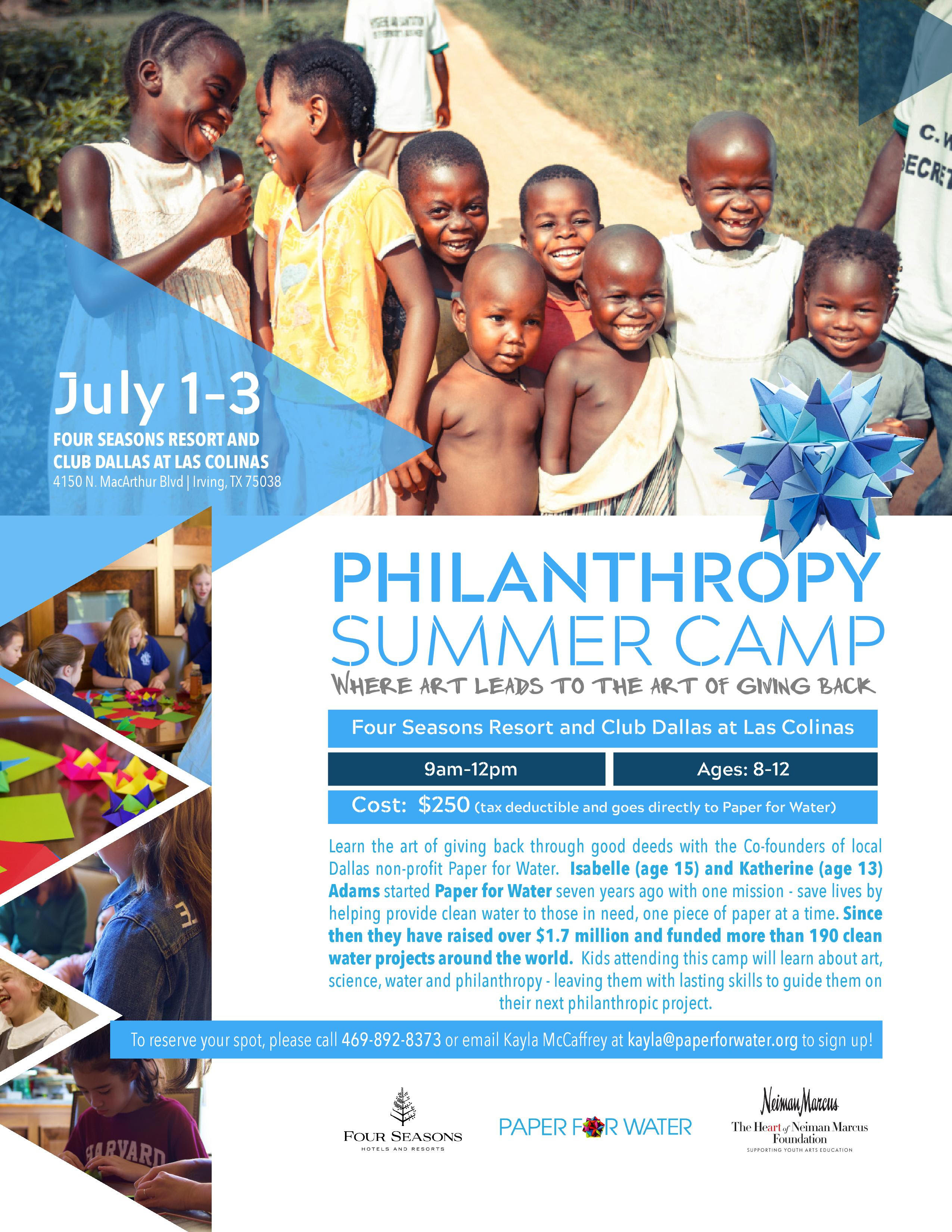 Paper for water philanthropy summer camp